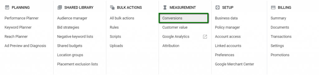where to find the google ads conversions tab