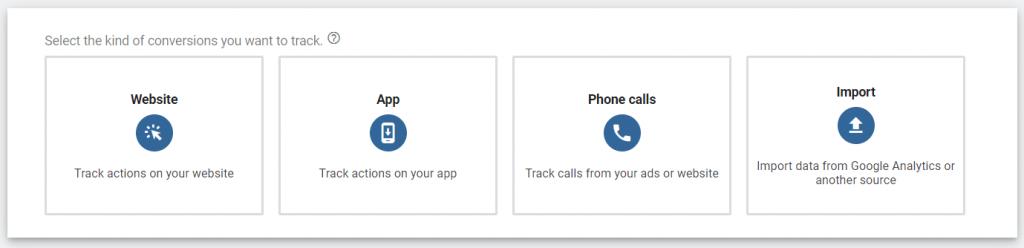 google conversions tab step two