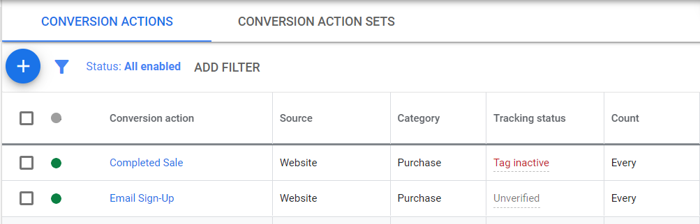 google ads conversion actions view
