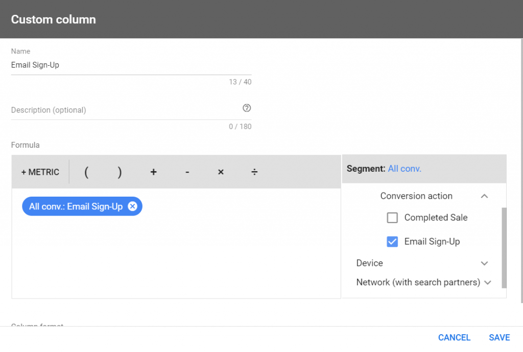 example of how to create a custom column in google ads