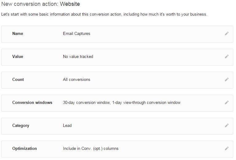 AdWords conversion tracking settings