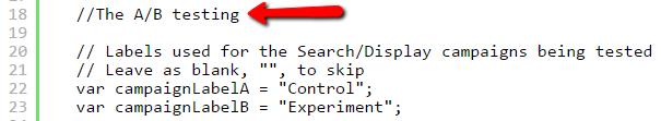 Google AdWords Script Screenshot