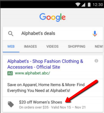 Google Example of Promotion Extensions