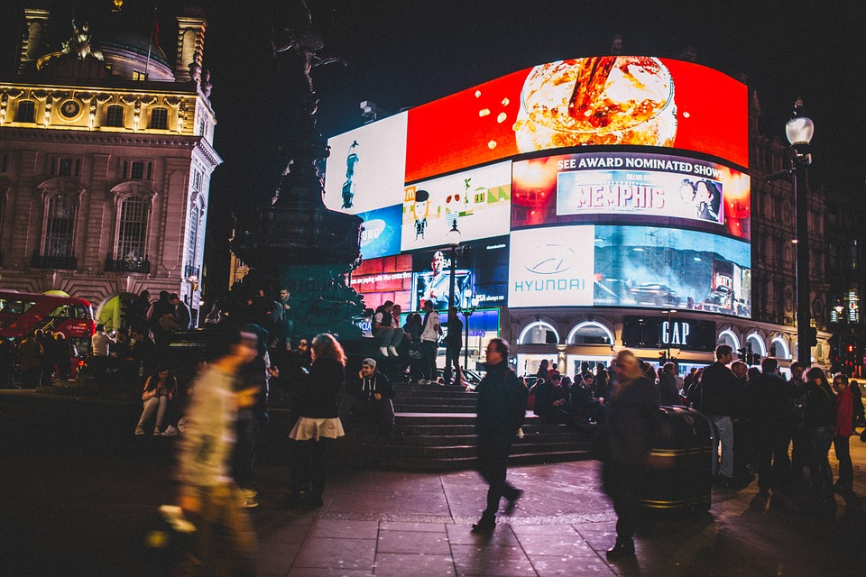 Picadilly Circus with Multiple Advertising Billboards