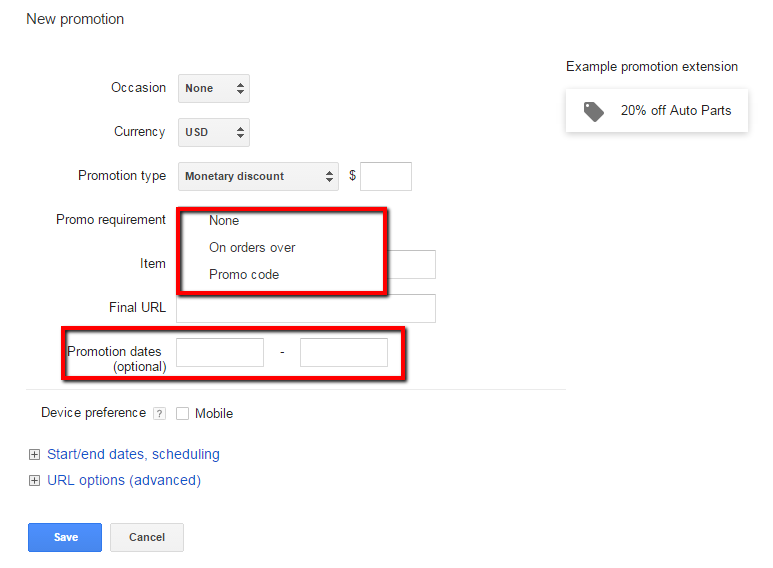 Google Screenshot with Requirements and Promotion Dates