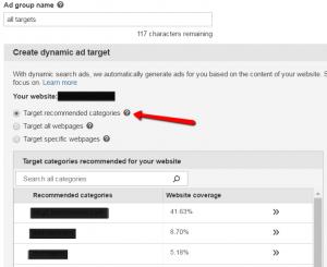 Bing DSA target recommended categories