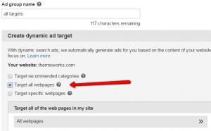 Bing DSA target all webpages