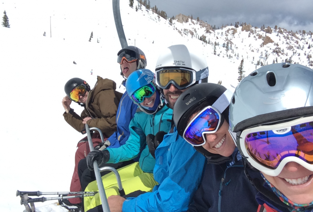 Picture of friends on a ski lift in Lake Tahoe