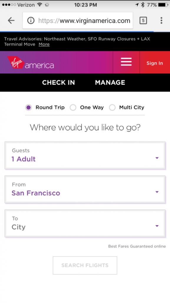 Screenshot of Virgin Mobile's mobile booking site.
