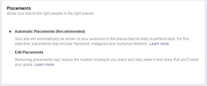 Facebook Default Placement Options