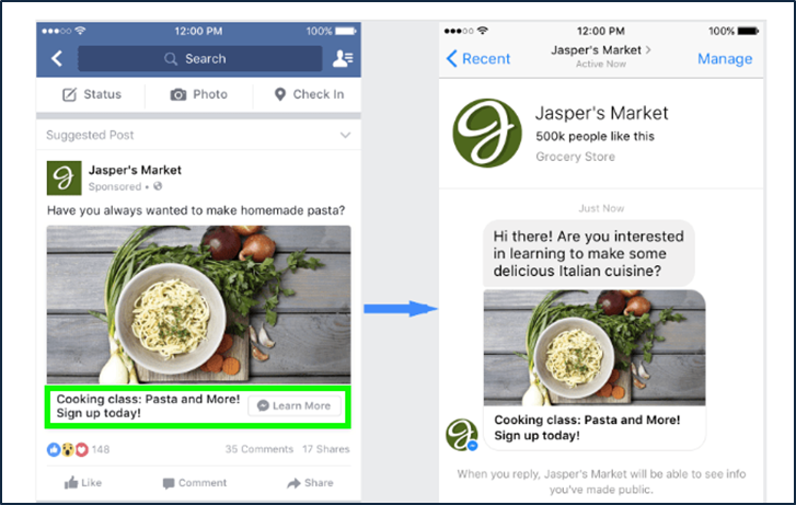 example of how a messenger ad click opens