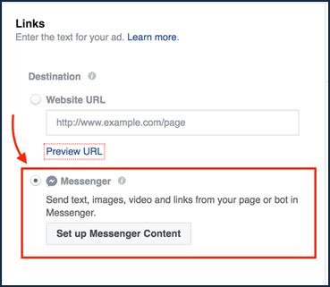 Facebook Messenger ad type in the platform