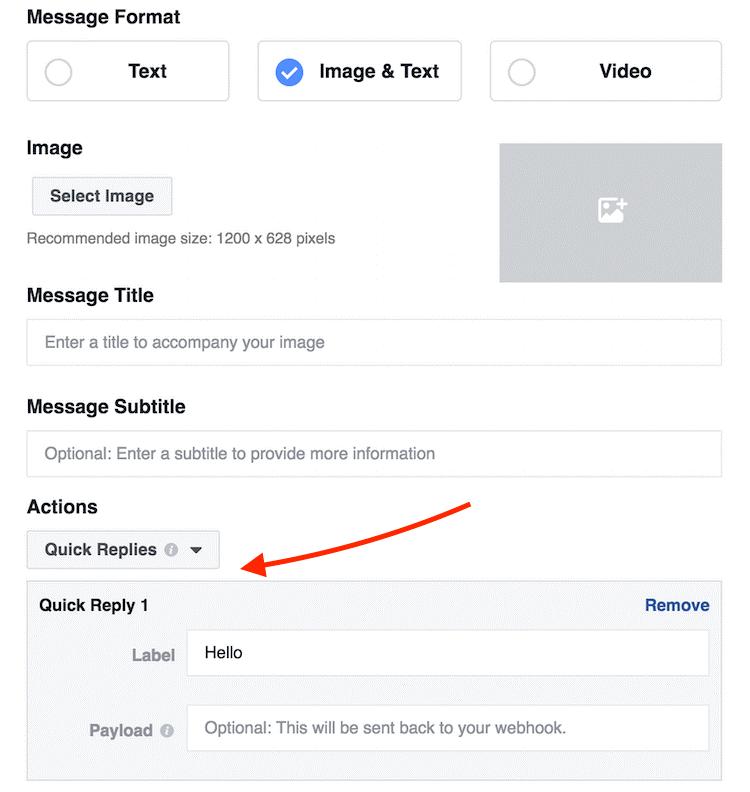 Facebook quick reply setup