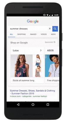Google Search displaying Shopping Showcase Ads