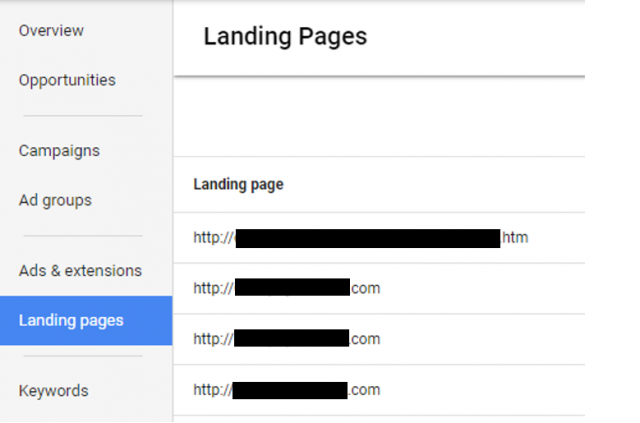 Land Page Tab in Google AdWords