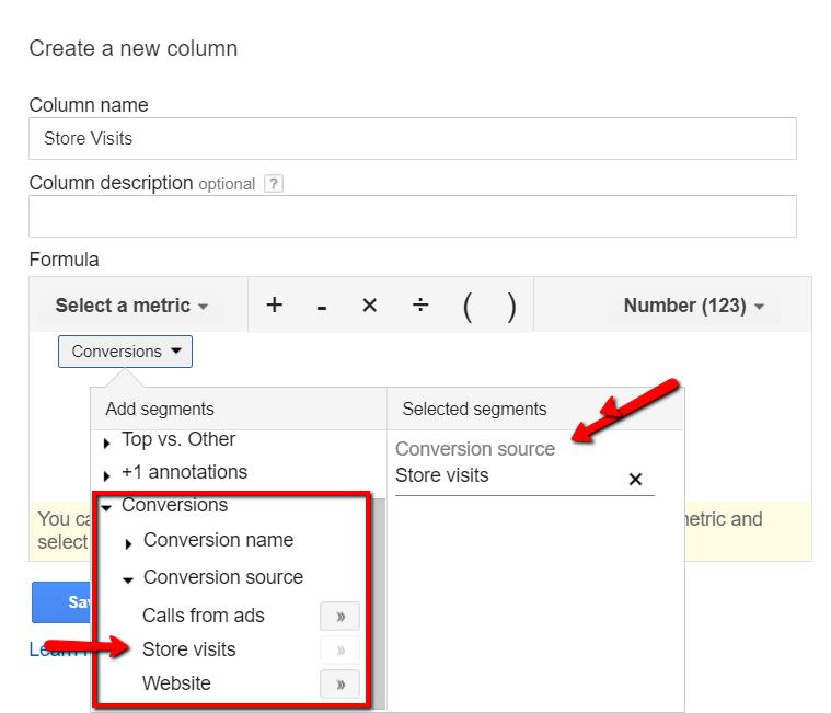 Google store visits conversion column