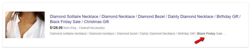 Black Friday keyword in Google Shopping ad