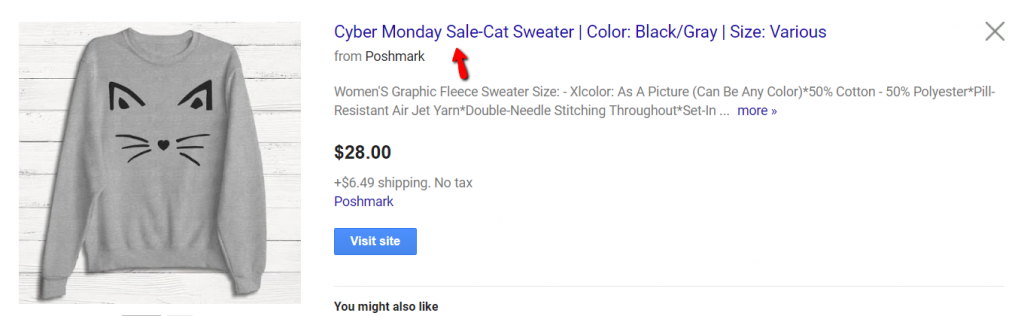 screenshot of cyber monday keyword in Google Shopping