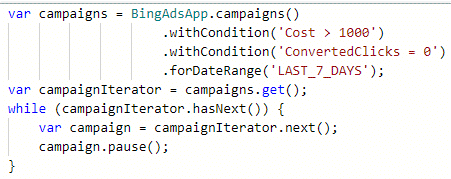 example of bing scripts to pause high spend, no conv campaigns