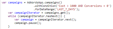 example of google ads script