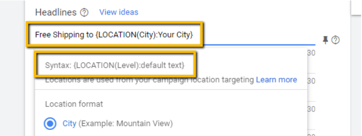 Example of entering a text default just in case Google can't pick up on location