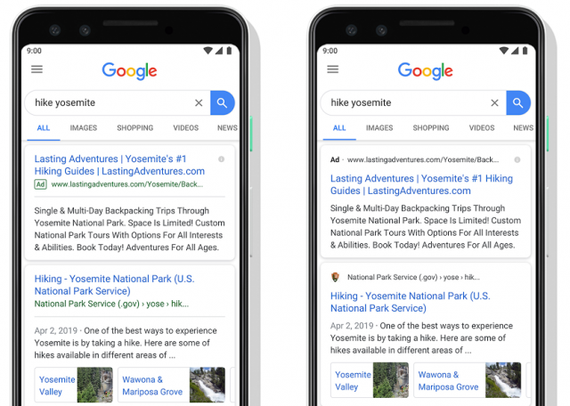 Google Mobile Search Ad Format