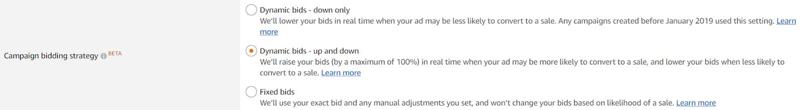 Amazon automated bidding