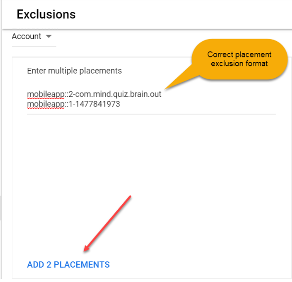 Exclude Multiple Placements in Google Ads