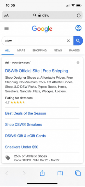 Search engine results page for brand search on mobile