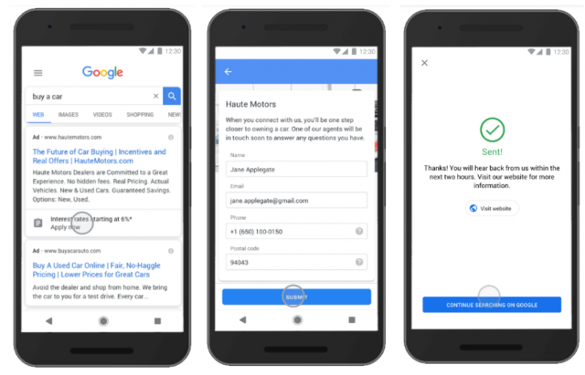 Google Ads Lead Form Extension on Mobile