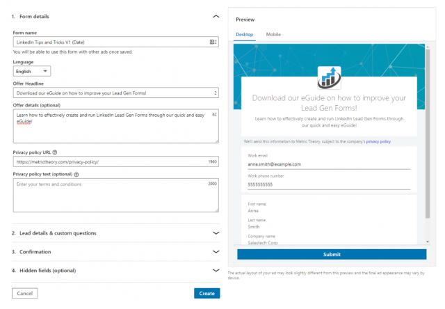 LinkedIn Lead Gen Form example