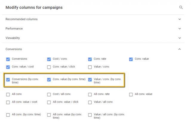 google ads platform showing conv by conv time column