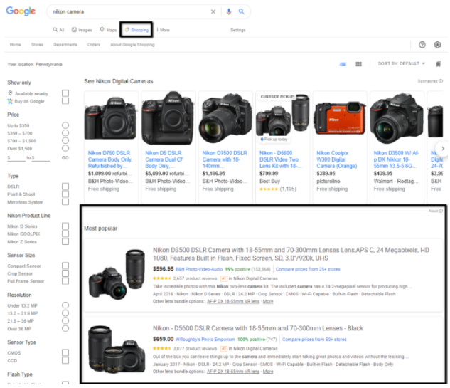 free organic shopping listings in google's shopping tab