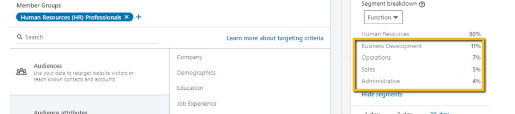 LinkedIn Segment Screenshot