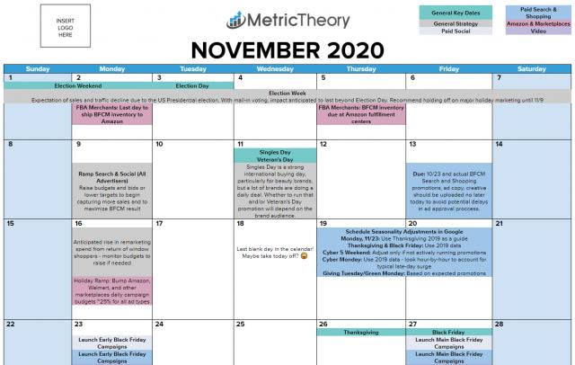 2020 Holiday Season Ecommerce Planning Calendar