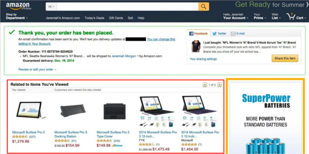 Amazon Confirmation Page