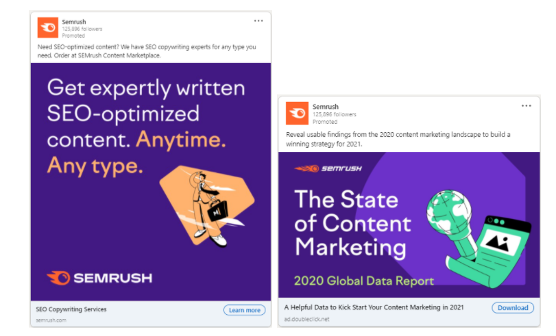 Examples of square ads