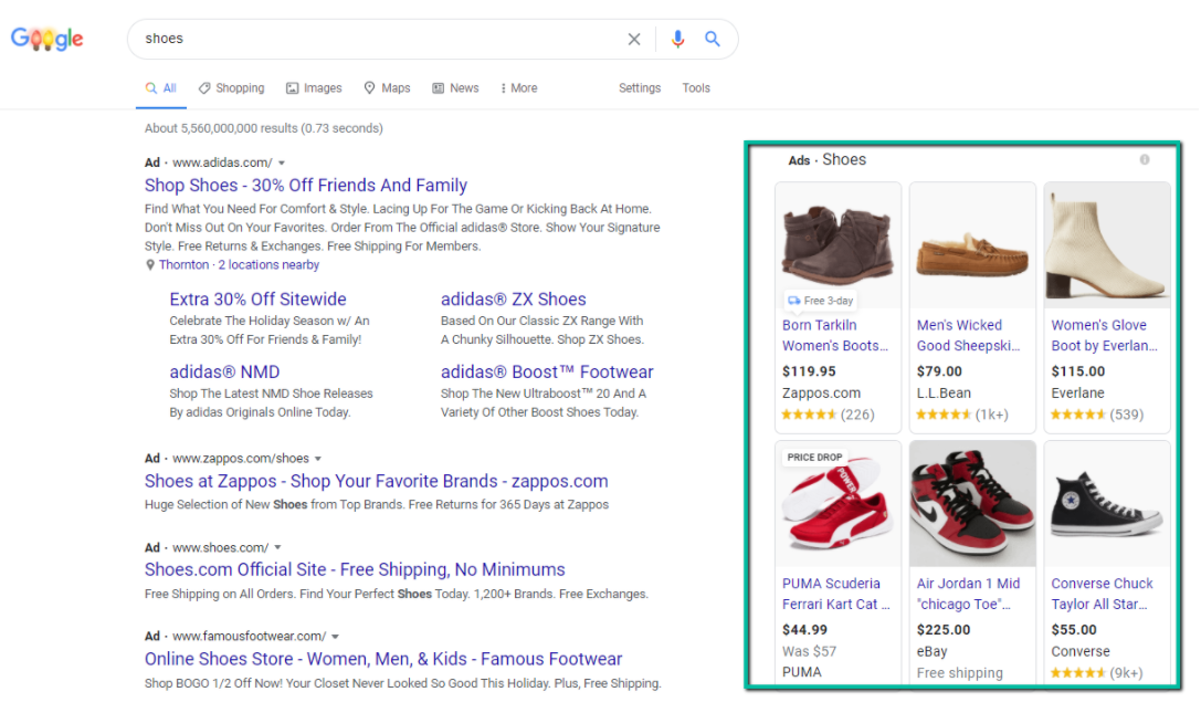 Search engine results page with shopping ads from feed