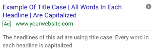 Example of ad headline with title case
