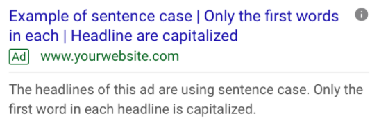 Example ad headlines with sentence case