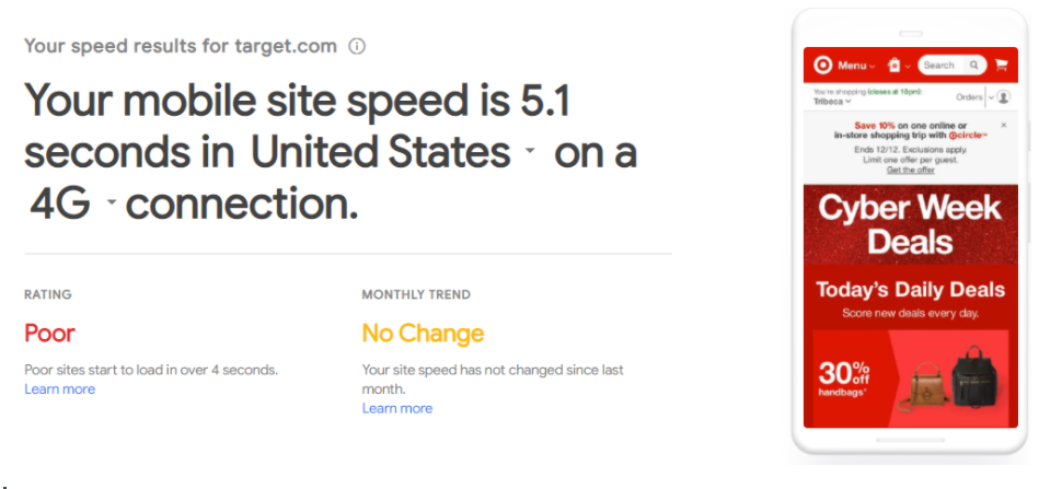 Site speed rating example with Test My Site