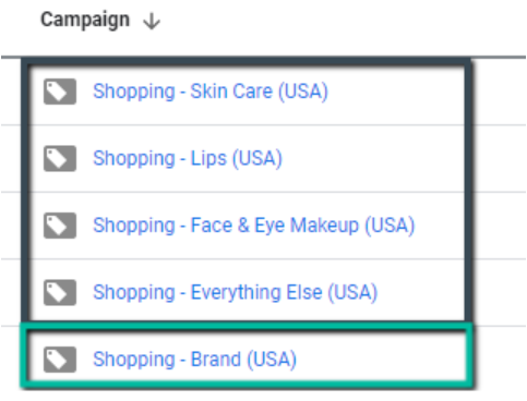 Example of one brand campaign
