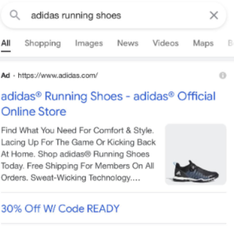 Example of image extension showing product with white background for Adidas