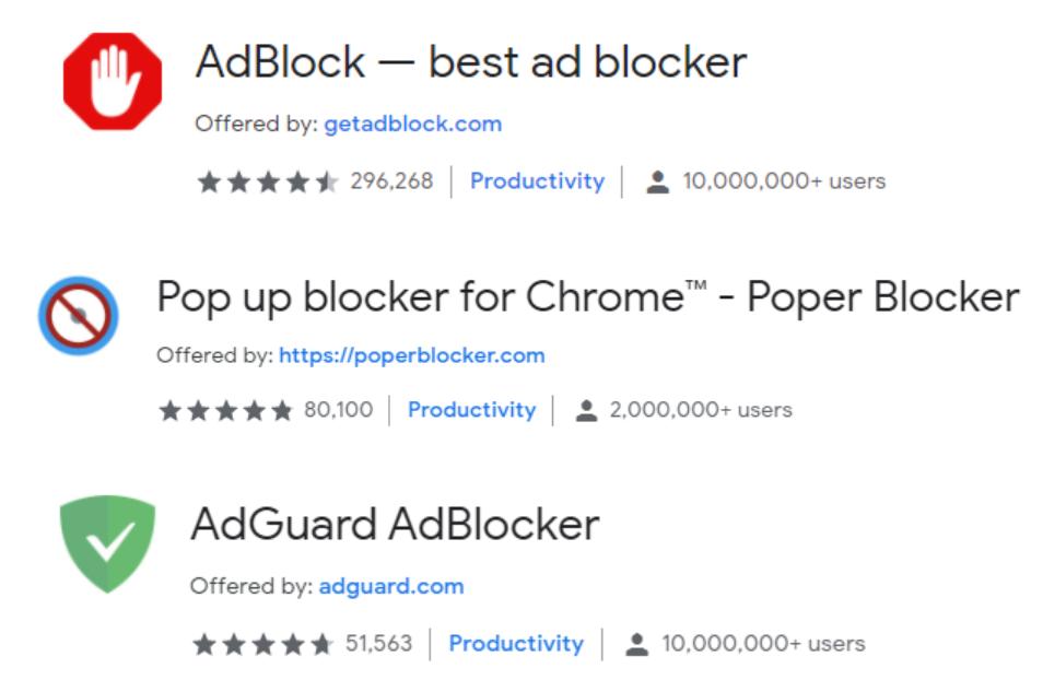 Examples of popular ad blockers